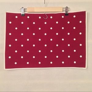 Set 2 Pottery Barn red white polka dot placemats